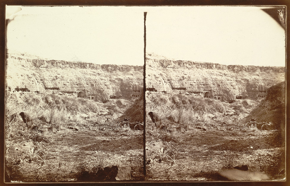 General view of the middle series of caves, Ajanta